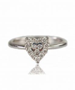 anello oro bianco diamanti dal taglio brillante a forma di cuore.