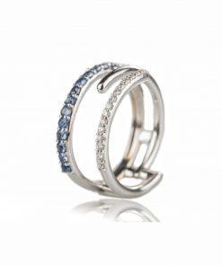 anello in oro bianco 18 carati con diamanti e zaffiri blu dal taglio brillante