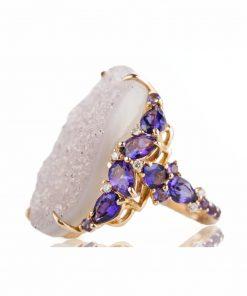 anello oro rosa con drusa centrale, ametista a goccia e diamanti dal taglio brillante