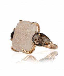 anello oro rosa 18 carati con drusa e quarzo fumè