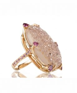 nello oro rosa con drusa taglio ovale, rubelite taglio goccia e zaffiri rosa