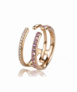 anello oro rosa 18 carati con diamanti taglio brillante e zaffiri rosa