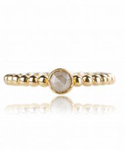 anello in oro giallo con diamante brown dal taglio briolette