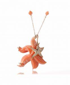 collana oro rosa con corallo rosa orientale e perle sferiche