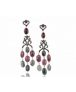 orecchini chandelier in oro bianco con zaffiri taglio briolette