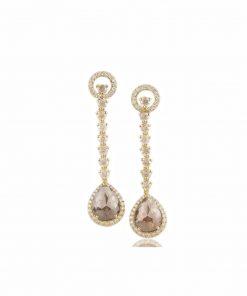 orecchini oro giallo con diamanti dal taglio rosetta ice white e brown