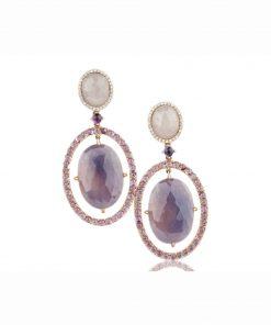 orecchini oro rosa con zaffiri blu taglio flat, rodolite e diamanti.