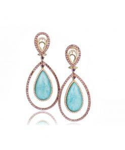 orecchini in oro rosa con pietre composite: quarzo bianco, turchese, roboliti e diamanti