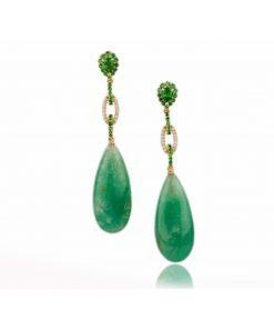 orecchino oro giallo con smeraldi gocce dal taglio cabochon e tzavoriti