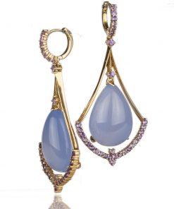 orecchini in oro rosa con calcedonio blu a goccia in stile art-decò.