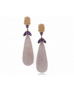 orecchini in oro rosa 18 carati con drusa, ametiste e diamanti.