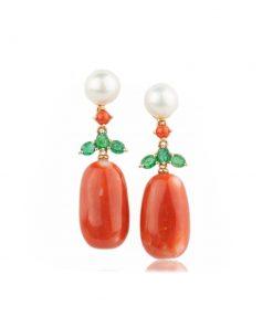 orecchini oro rosa con corallo rosso mediterraneo e smeraldo verde