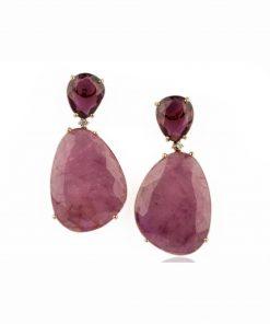 orecchini in oro rosa 18 carati con rubellite taglio flat e diamanti dal taglio brillante