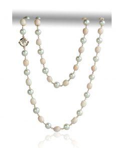 collana in oro rosa 18 carati con corallo rosa orientale